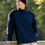 Adult Polyester Full-Zip Color-Block Micro-Fleece Jacket