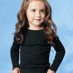 Toddler Baby Rib Long Sleeve Tiny Tee with Scalloped Edges